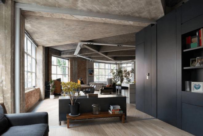 бетонный потолок в интерьере