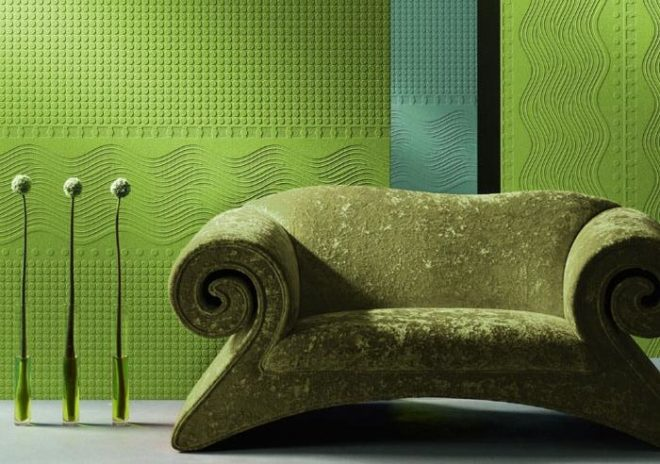 Зелёные флизелиновые обои в интерьере