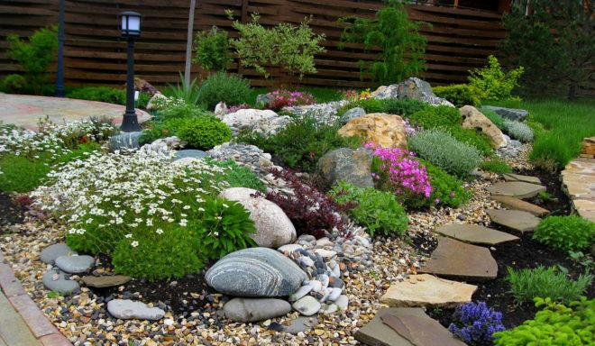 ландшафтный дизайн двора частного дома с камнями