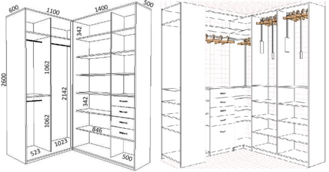 Схема гардеробной на две или три стены