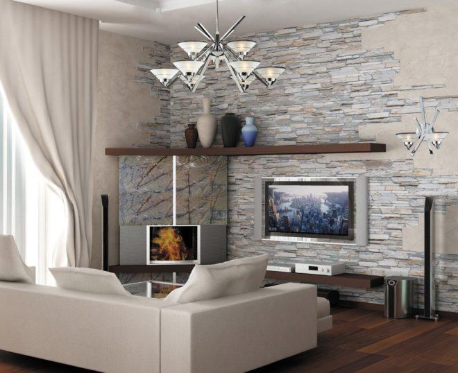 Оформление гостиной с помощью искусственного камня
