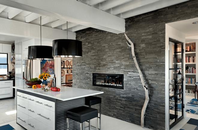 Фото применения натурального камня в интерьере кухни