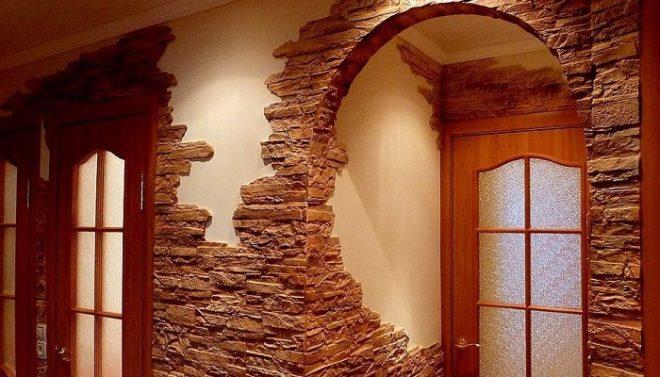 Отделка угла и арки декоративным камнем