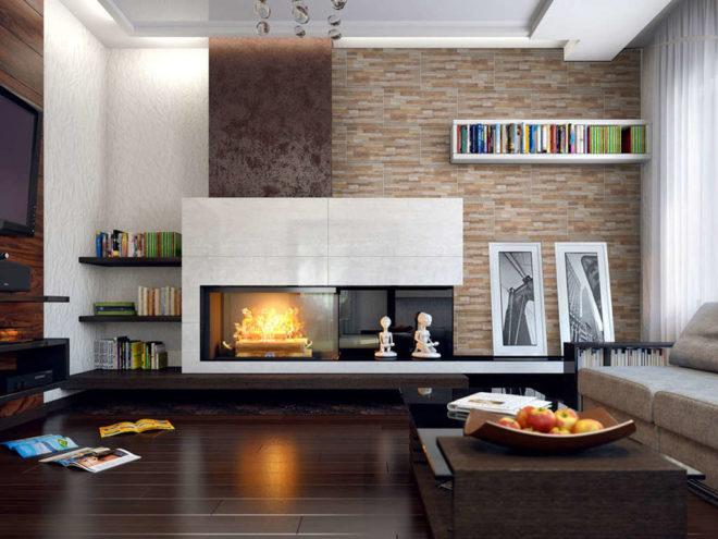 Камин в дизайне современной гостиной