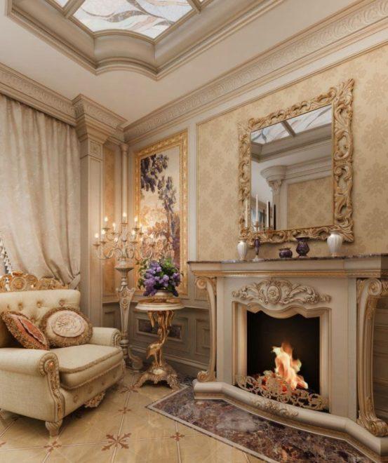 Камин в гостиной в стиле барокко