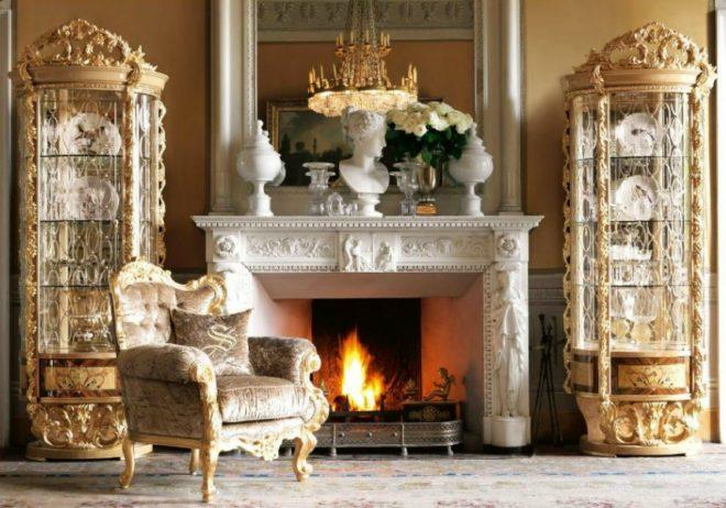 Дизайн гостиной с камином в стиле барокко