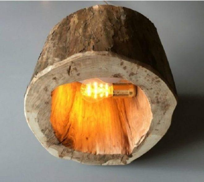 Оригинальный светильник из дерева своими руками