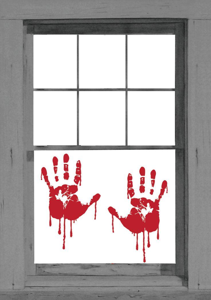 Кровавые отпечатки на стекле