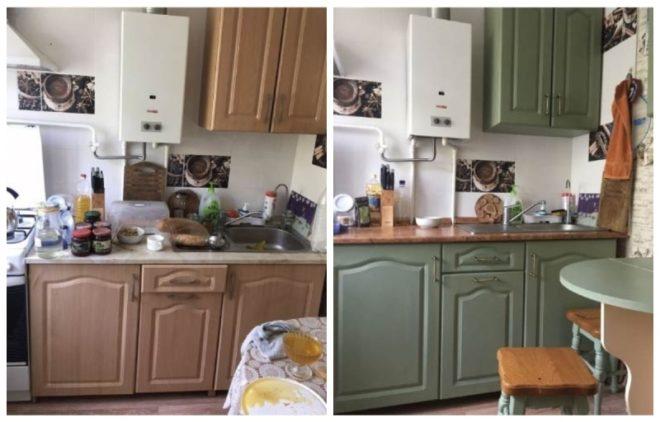 Обновлённый своими руками кухонный гарнитур