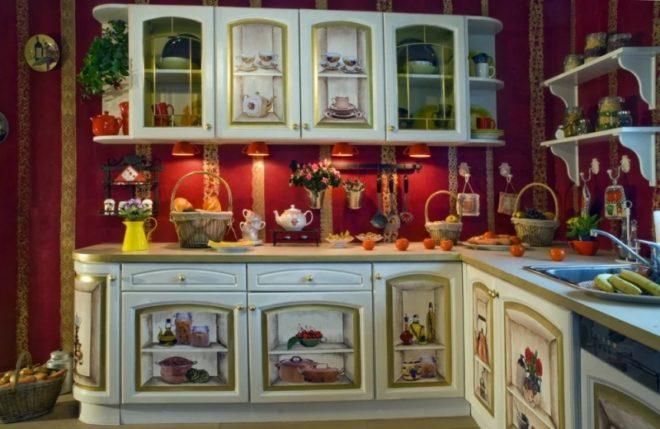 Декупаж в отделке кухонного гарнитура
