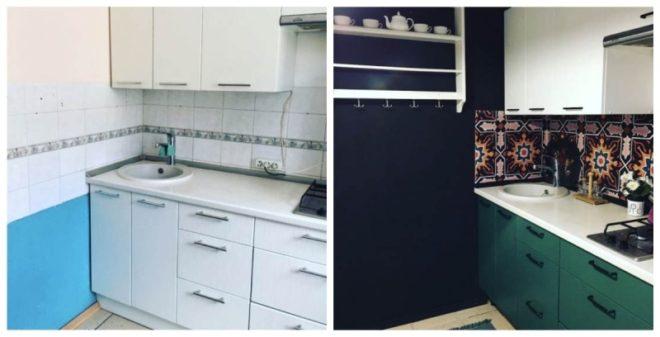 Обновление кухонной мебели окрашиванием