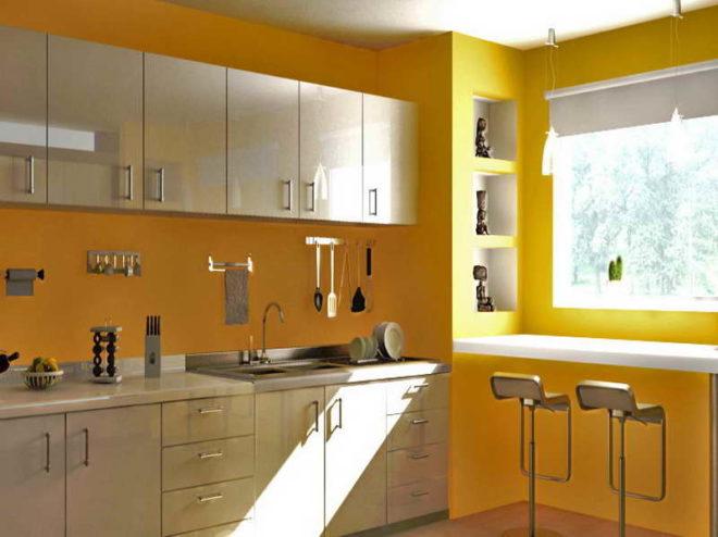 крашеные стены на кухне