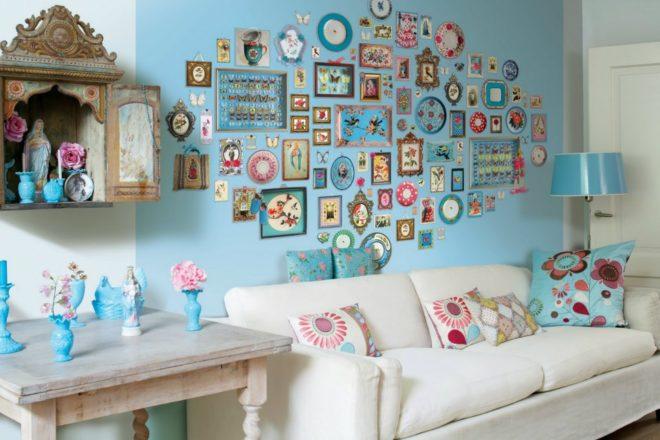 украшение стены над кроватью фотографиями