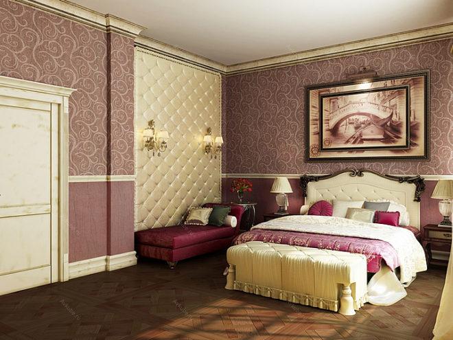 Спальня с обоями двух цветов