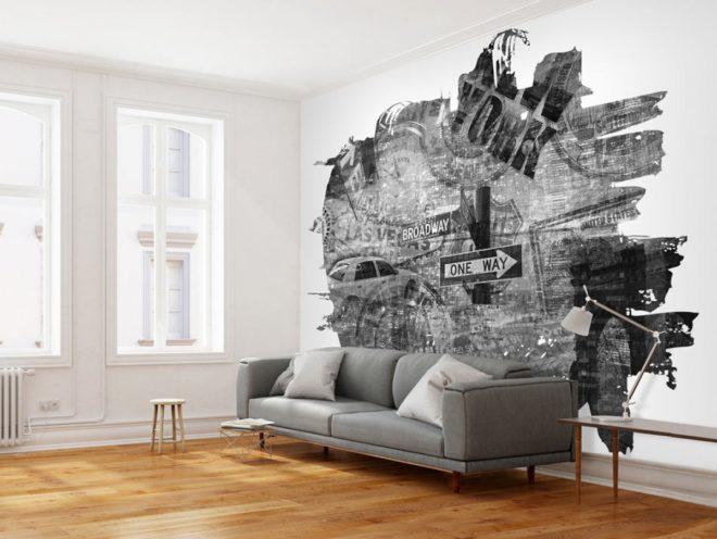 Чёрно-белые обои в интерьере — фото