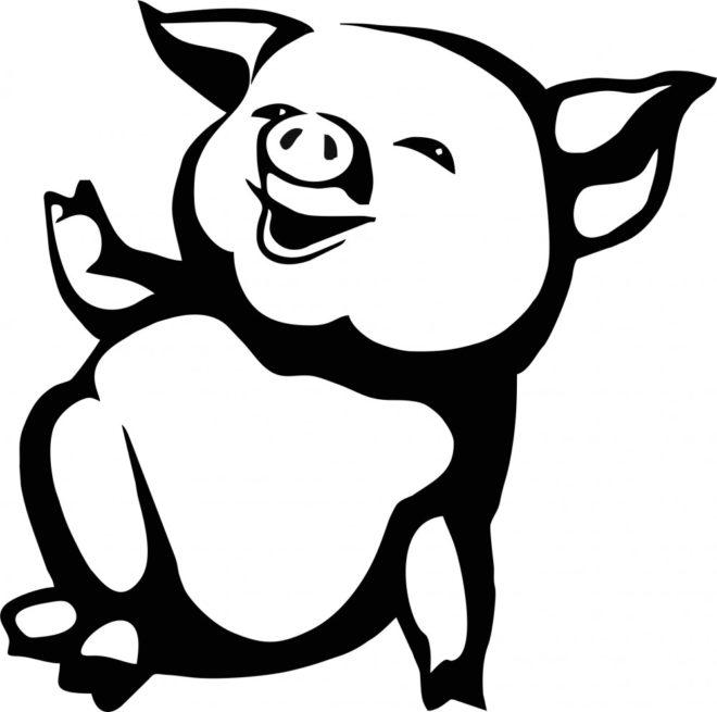 Трафарет свиньи на Новый 2019 год