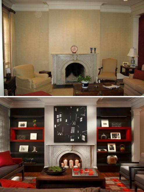 Гостиная до и после ремонта — фотопримеры