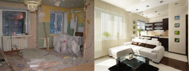 Однокомнатная хрущевка до и после ремонта