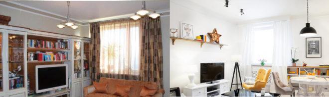 Расширение пространства гостиной при помощи стеллажей и полок