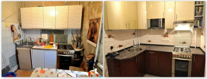 Ремонт кухни в хрущёвке — фото до и после