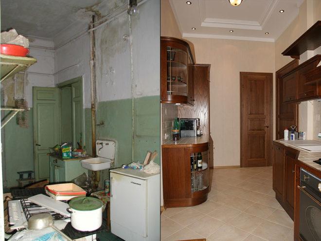 ремонт в сталинке до и после
