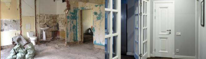 Стеклянная стена и дверь в квартире после ремонта