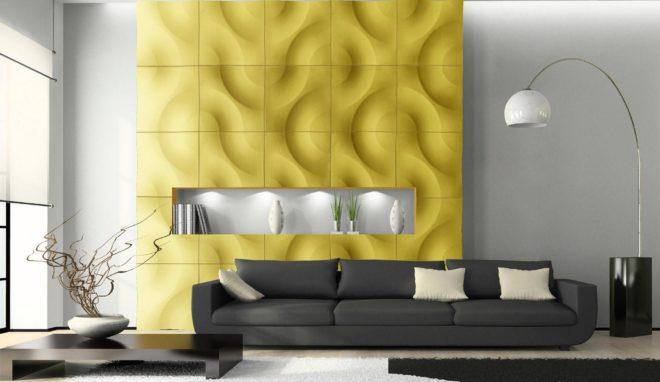желтые декоративные панели для внутренней отделки стен