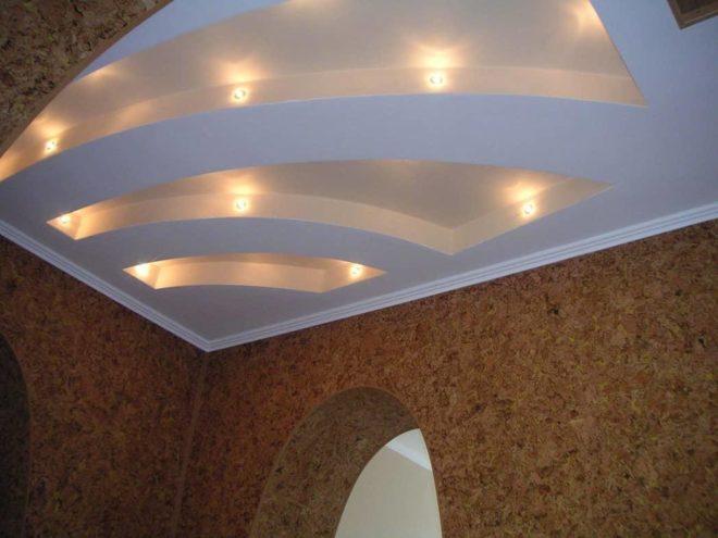 Многоуровневые потолки из гипсокартона — подборка фото