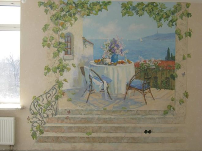Вариант современной фрески в жилом интерьере