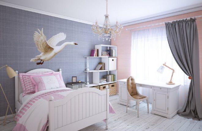 Обои с изображением гуся в детской комнате