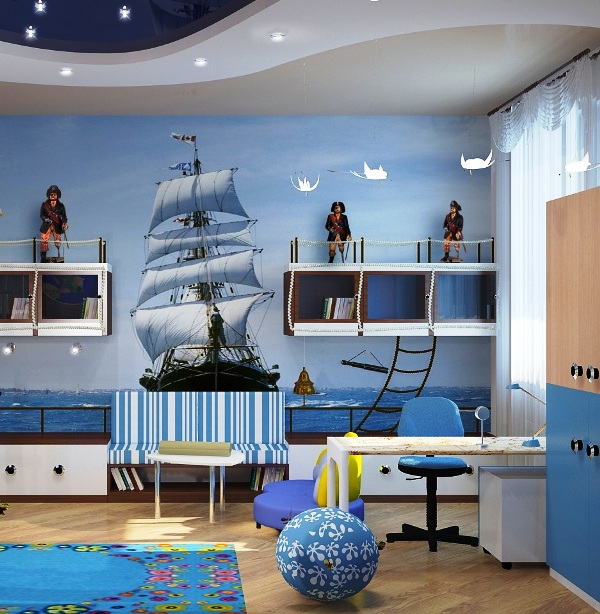 Обои в детской комнате с изображением моря и корабля