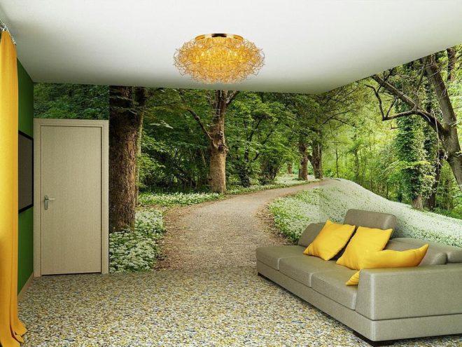 Фотообои с изображением леса, расширяющие пространство