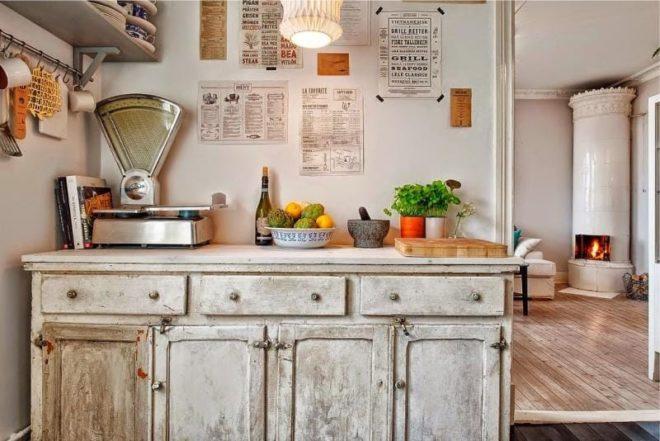 Дизайн белой кухни в стиле кантри