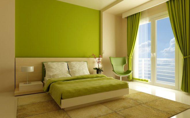 Интерьер спальни в зелёном цвете