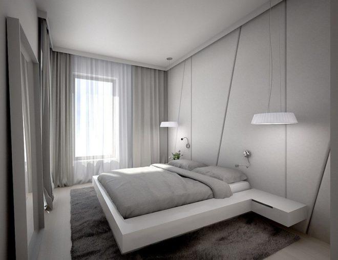 Интерьер спальни в светло-серых тонах