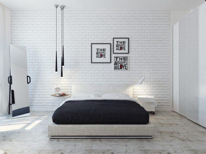 Интерьер спальни с использованием декоративного кирпича