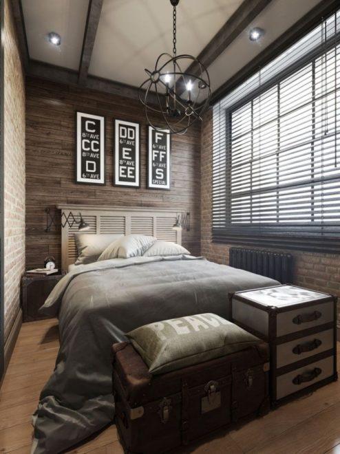 Дизайн узкой спальни в тёмных тонах