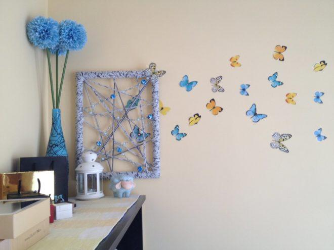 декор стены своими руками из бабочек