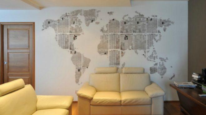 декор стены своими руками из газеты