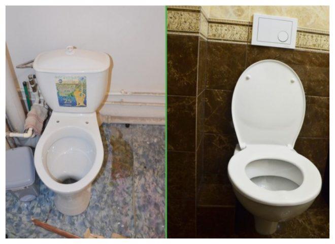 туалет до и после ремонта