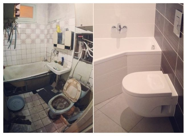 ванная и туалет до и после ремонта