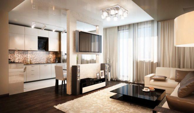 Дизайн кухни-гостиной с перегородкой