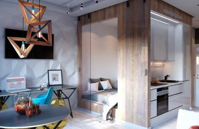 Спальное место выделено в отдельную комнату