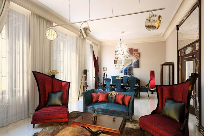 Диван и стулья визуально разделяют однокомнатную квартиру на части
