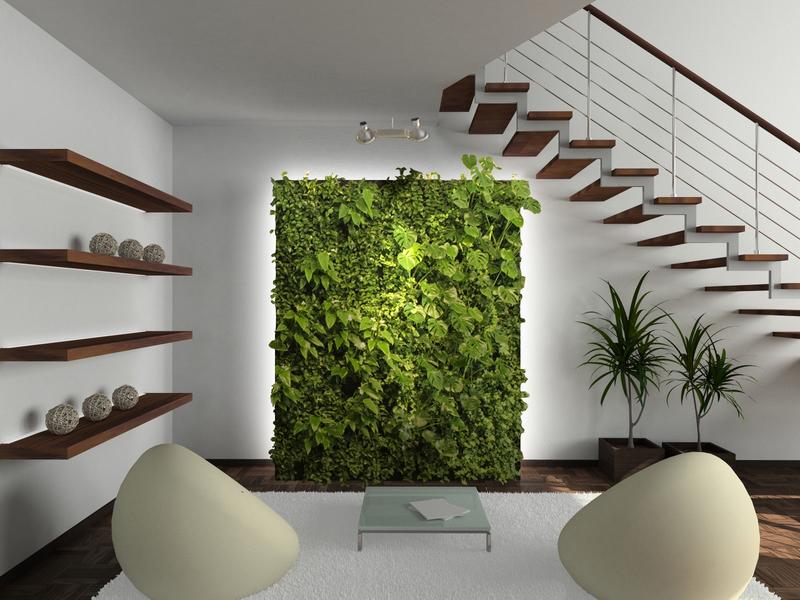 Белая комната с панно из растений