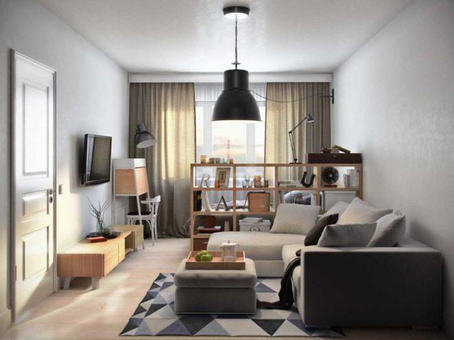 вариант спальни, совмещённой с гостиной