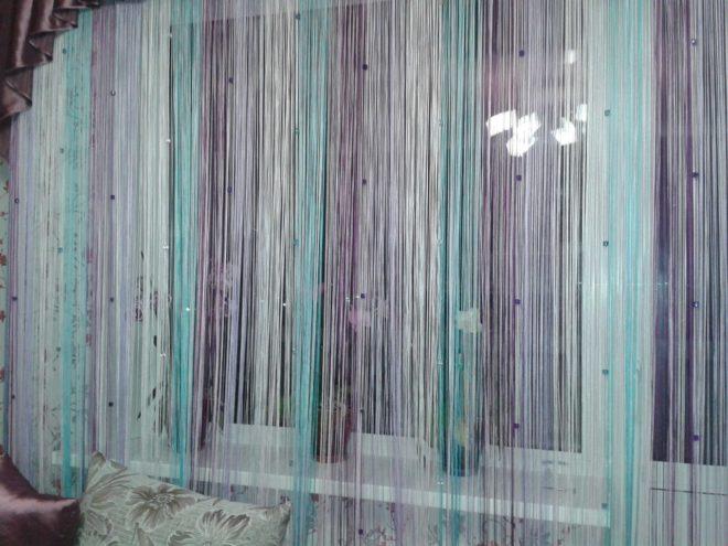 Нитяные шторы пастельных оттенков
