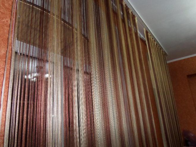 Нитяные шторы в тёплой цветовой гамме