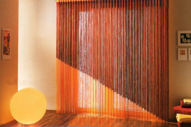 Оранжевые кисейные шторы