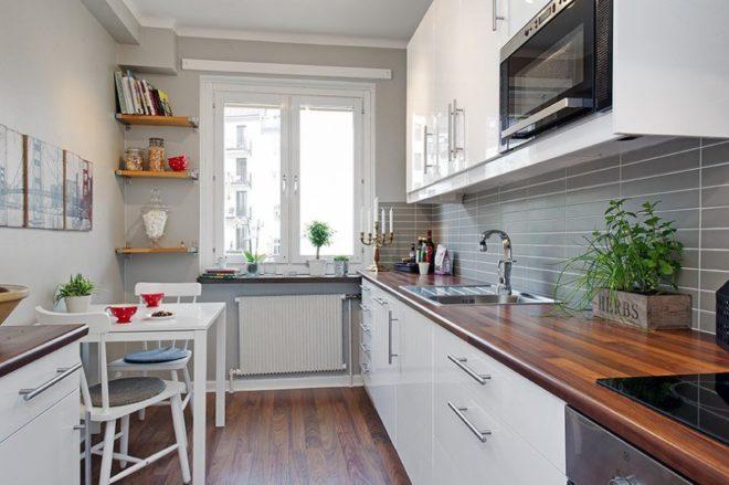 Оформление узкой кухни